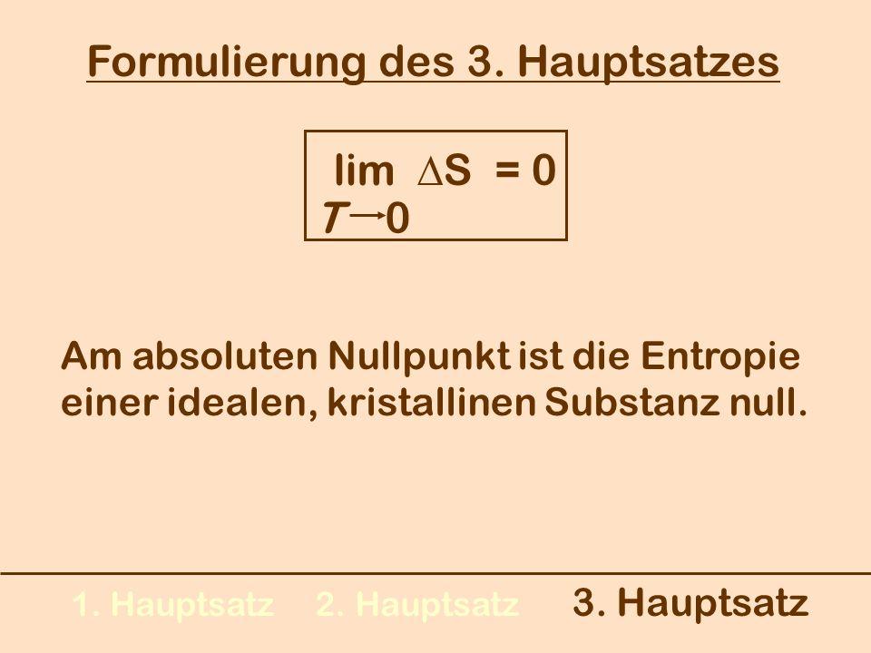 1. Hauptsatz 2. Hauptsatz 3. Hauptsatz Formulierung des 3. Hauptsatzes lim S = 0 T 0 Am absoluten Nullpunkt ist die Entropie einer idealen, kristallin