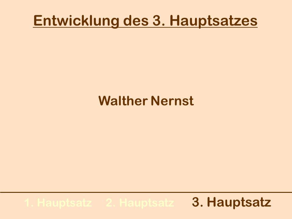 Entwicklung des 3. Hauptsatzes 1. Hauptsatz 2. Hauptsatz 3. Hauptsatz Walther Nernst