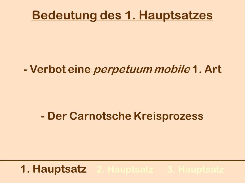 1. Hauptsatz 2. Hauptsatz3. Hauptsatz Bedeutung des 1. Hauptsatzes - Verbot eine perpetuum mobile 1. Art - Der Carnotsche Kreisprozess