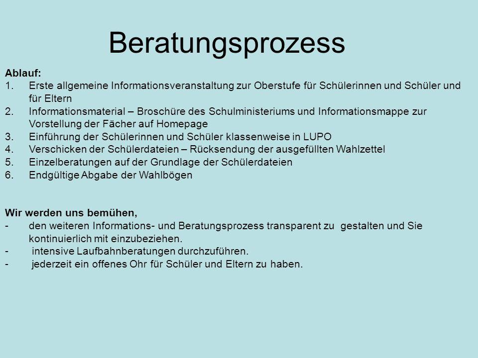Ablauf: 1.Erste allgemeine Informationsveranstaltung zur Oberstufe für Schülerinnen und Schüler und für Eltern 2.Informationsmaterial – Broschüre des