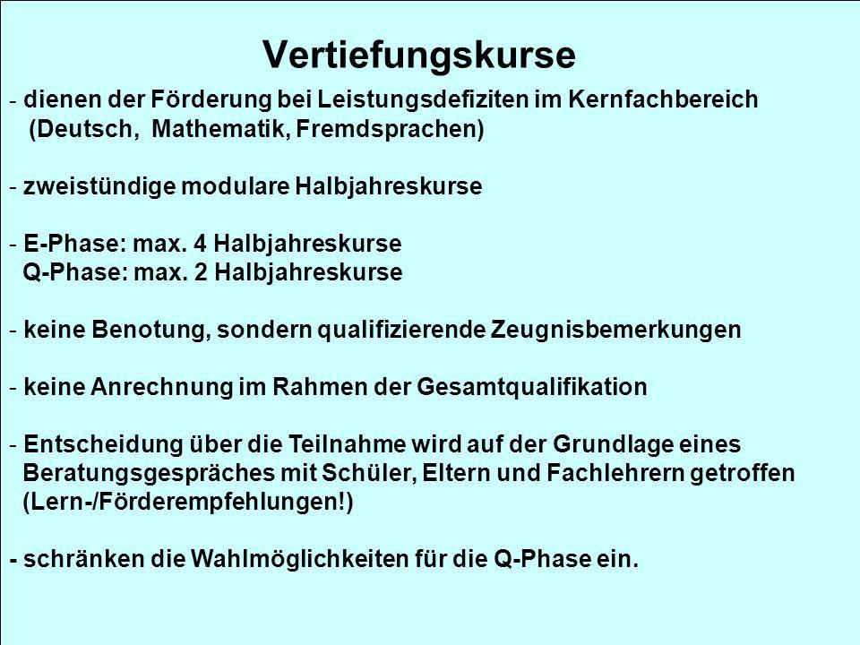- dienen der Förderung bei Leistungsdefiziten im Kernfachbereich (Deutsch, Mathematik, Fremdsprachen) - zweistündige modulare Halbjahreskurse - E-Phas