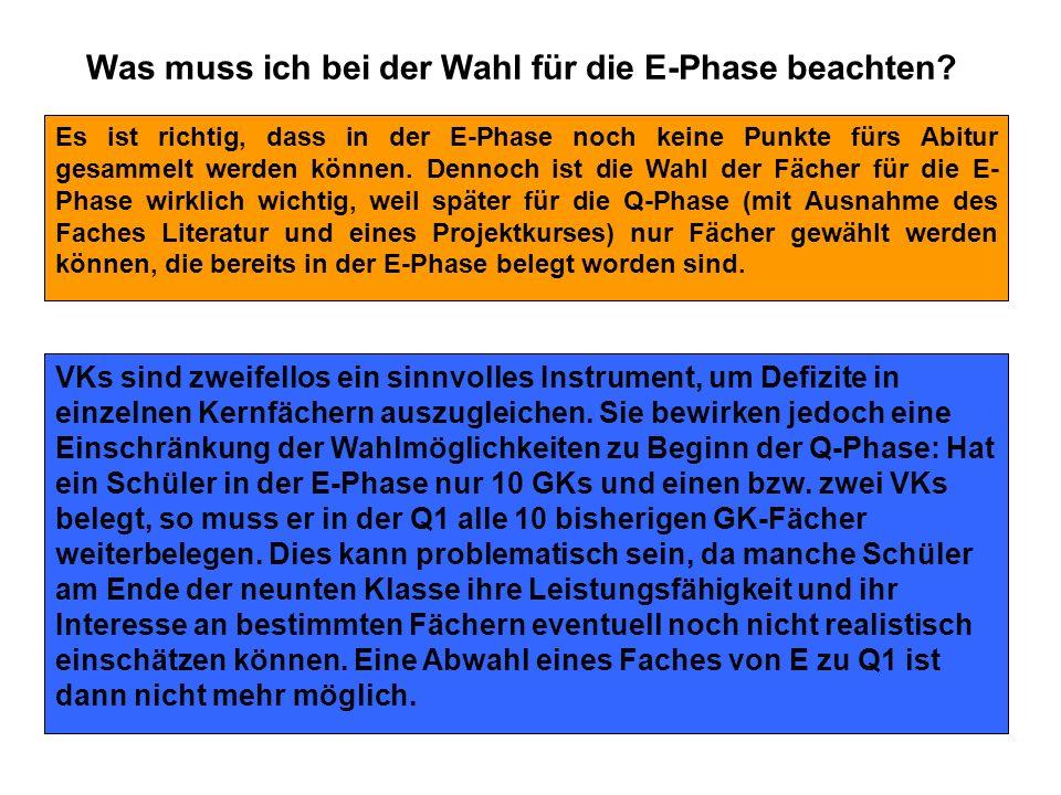 Was muss ich bei der Wahl für die E-Phase beachten? Es ist richtig, dass in der E-Phase noch keine Punkte fürs Abitur gesammelt werden können. Dennoch
