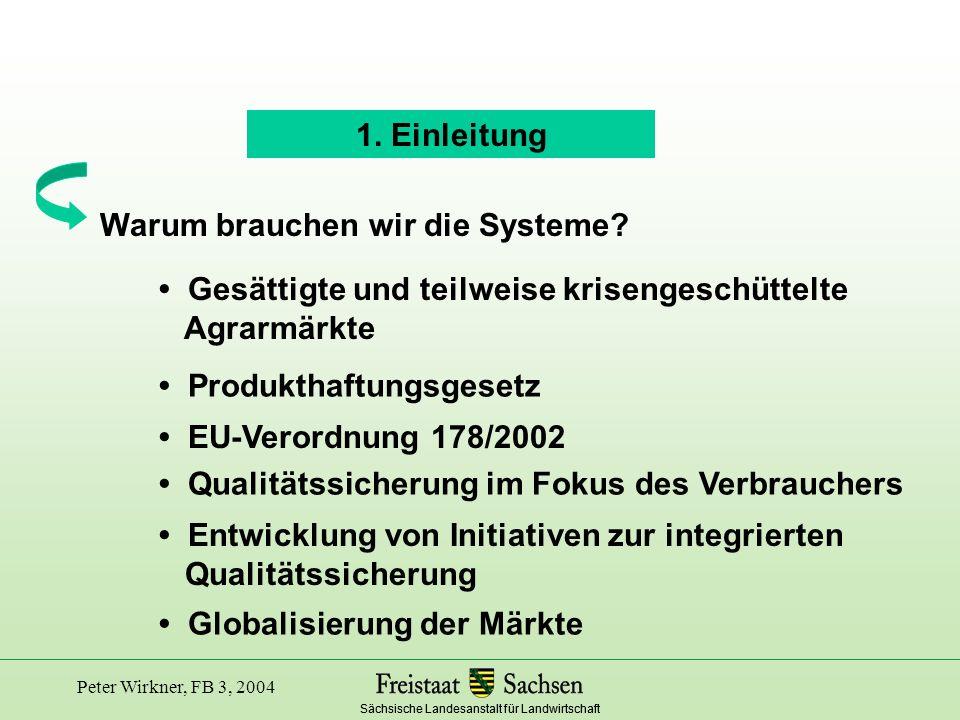 Sächsische Landesanstalt für Landwirtschaft Peter Wirkner, FB 3, 2004 Entwicklung auf Initiative des Deutschen Bauern- verbandes, des Deutschen Raiffeisenverbandes und des Milchindustrieverbandes QM - Milch (Qualitätsmanagement - Milch) Standard für die Milchproduktion auf einem landwirtschaftlichen Betrieb Entwicklung seit 1997 durch die Milchwirtschaft Niedersachsen