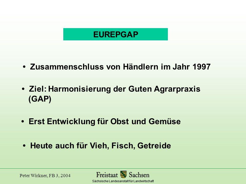 Sächsische Landesanstalt für Landwirtschaft Peter Wirkner, FB 3, 2004 Fisch EUREPGAP Basismodul für den Viehbestand Basismodul für alle Landwirte GeflügelMilchvieh Eigenes Futter Transport SchweinRinder/Schafe Getreide Futtermittelhersteller