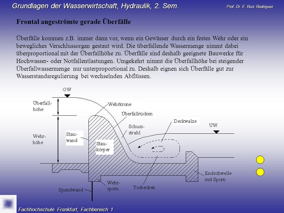 Prof. Dr. E. Ruiz Rodriguez Grundlagen der Wasserwirtschaft, Hydraulik, 2. Sem. Fachhochschule Frankfurt, Fachbereich 1 Frontal angeströmte gerade Übe