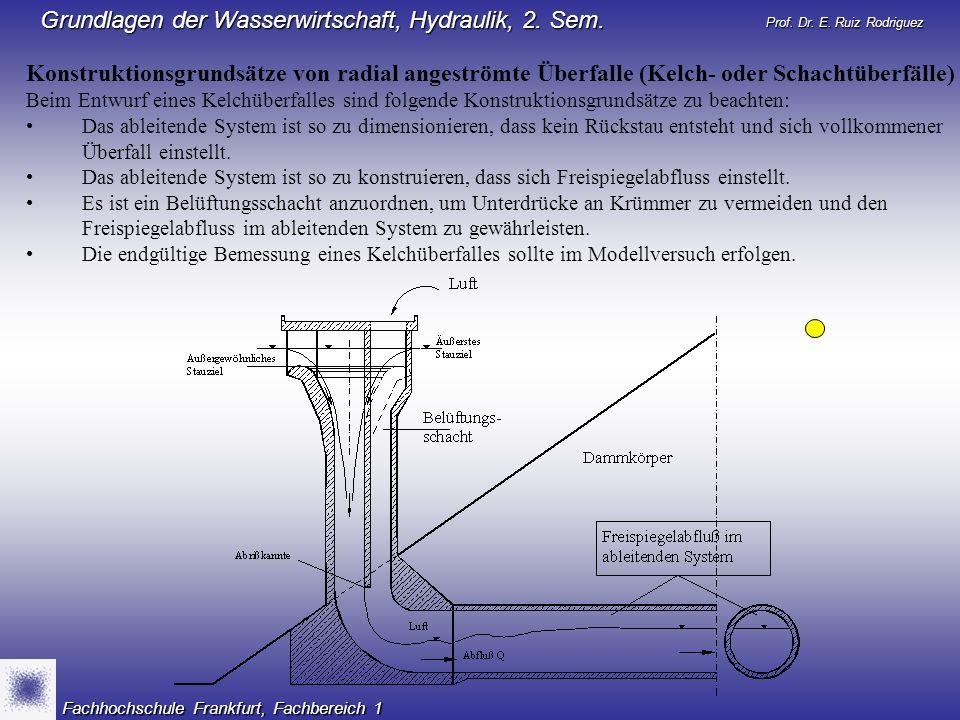 Prof. Dr. E. Ruiz Rodriguez Grundlagen der Wasserwirtschaft, Hydraulik, 2. Sem. Fachhochschule Frankfurt, Fachbereich 1 Konstruktionsgrundsätze von ra