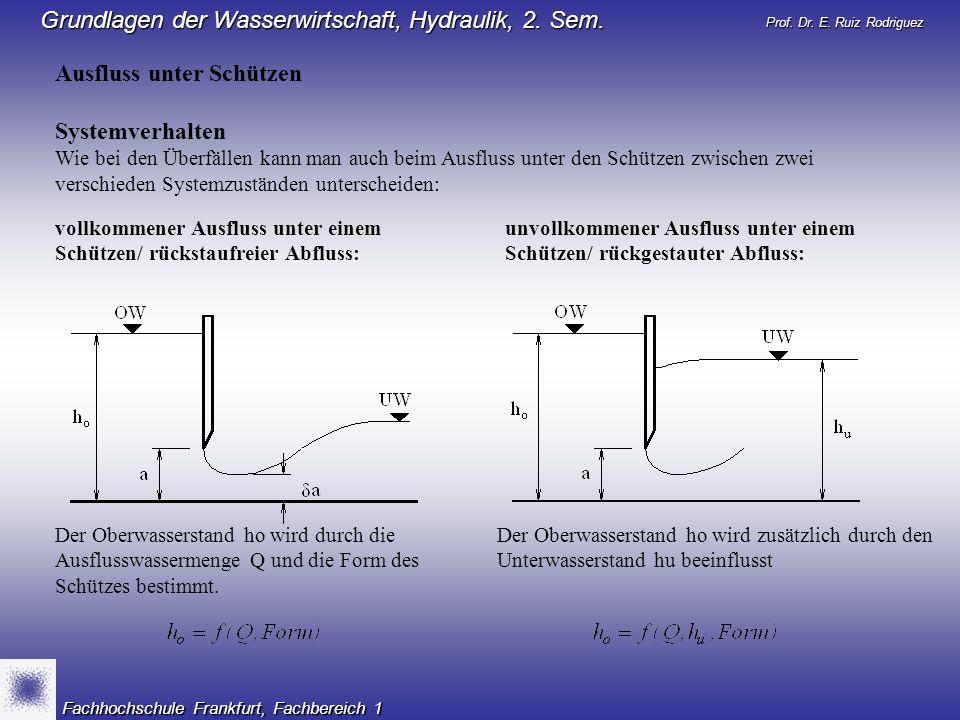 Prof. Dr. E. Ruiz Rodriguez Grundlagen der Wasserwirtschaft, Hydraulik, 2. Sem. Fachhochschule Frankfurt, Fachbereich 1 Ausfluss unter Schützen System