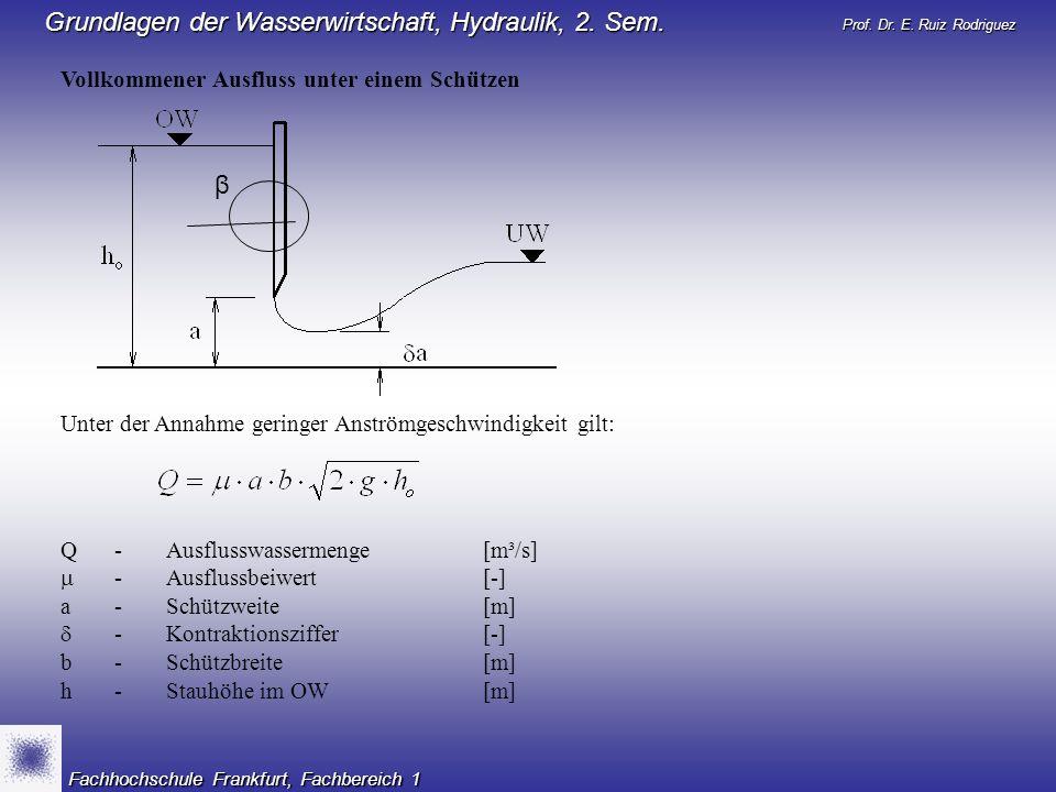 Prof. Dr. E. Ruiz Rodriguez Grundlagen der Wasserwirtschaft, Hydraulik, 2. Sem. Fachhochschule Frankfurt, Fachbereich 1 Vollkommener Ausfluss unter ei
