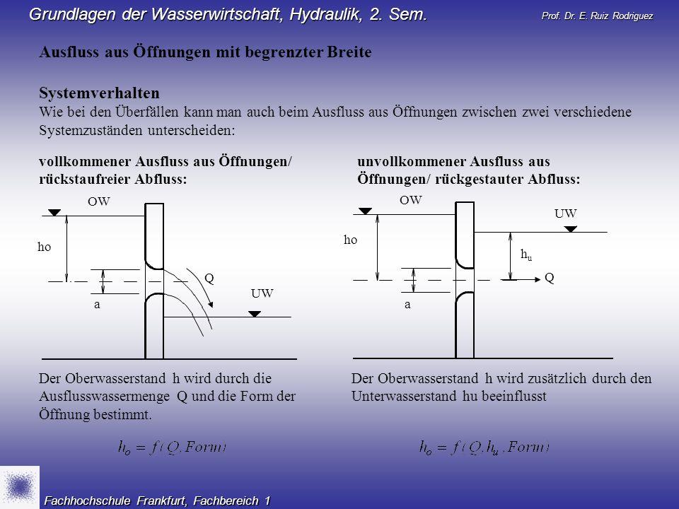 Prof. Dr. E. Ruiz Rodriguez Grundlagen der Wasserwirtschaft, Hydraulik, 2. Sem. Fachhochschule Frankfurt, Fachbereich 1 Ausfluss aus Öffnungen mit beg