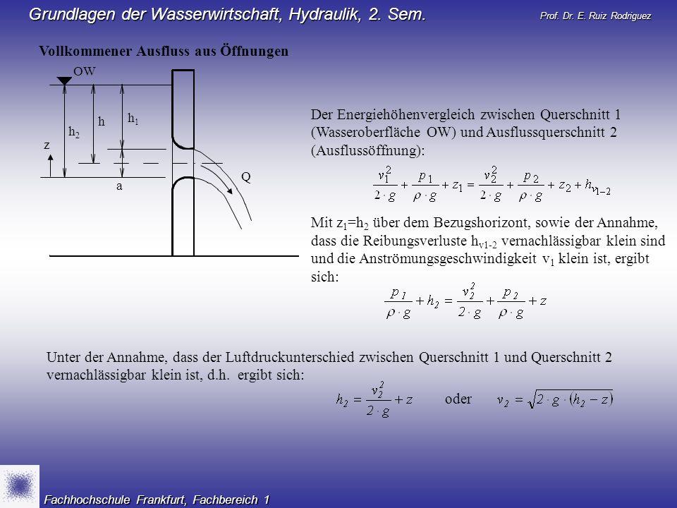 Prof. Dr. E. Ruiz Rodriguez Grundlagen der Wasserwirtschaft, Hydraulik, 2. Sem. Fachhochschule Frankfurt, Fachbereich 1 Vollkommener Ausfluss aus Öffn