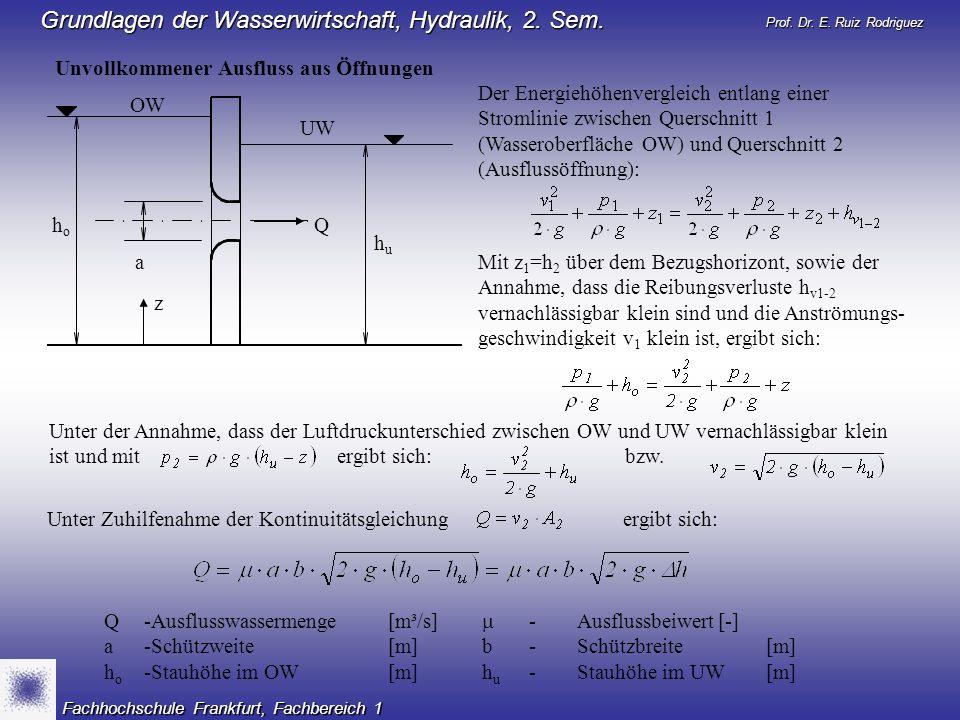 Prof. Dr. E. Ruiz Rodriguez Grundlagen der Wasserwirtschaft, Hydraulik, 2. Sem. Fachhochschule Frankfurt, Fachbereich 1 Unvollkommener Ausfluss aus Öf