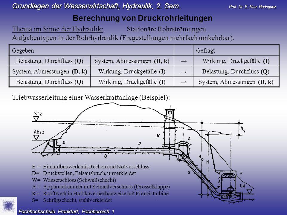 Prof. Dr. E. Ruiz Rodriguez Grundlagen der Wasserwirtschaft, Hydraulik, 2. Sem. Fachhochschule Frankfurt, Fachbereich 1 Thema im Sinne der Hydraulik:S