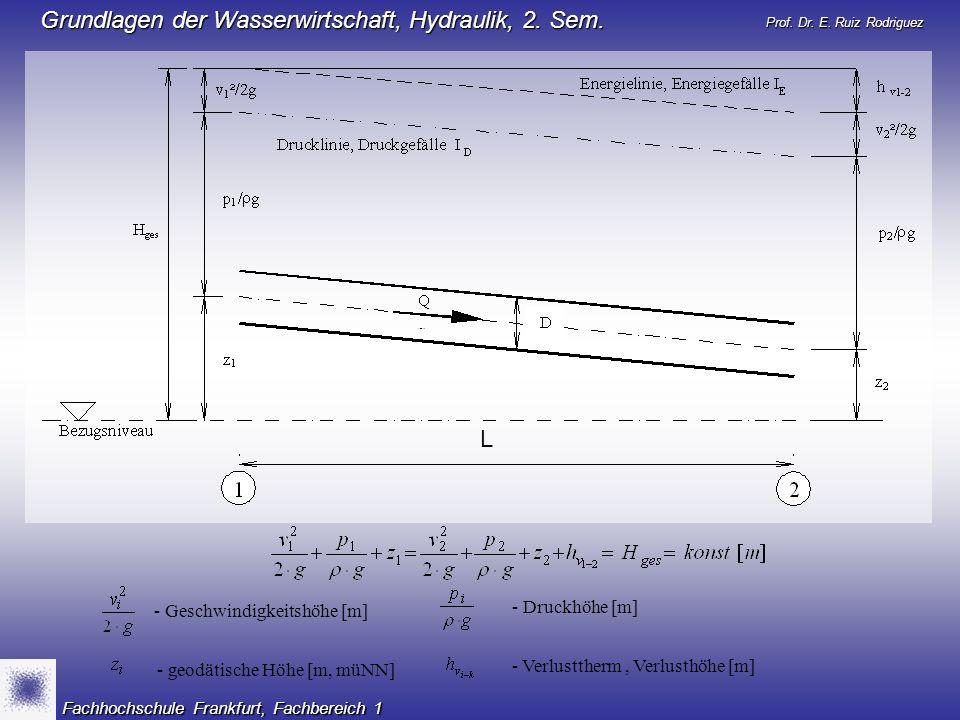Prof. Dr. E. Ruiz Rodriguez Grundlagen der Wasserwirtschaft, Hydraulik, 2. Sem. Fachhochschule Frankfurt, Fachbereich 1 - Geschwindigkeitshöhe [m] - D