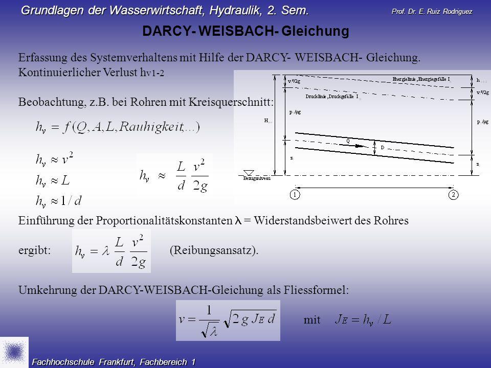 Prof. Dr. E. Ruiz Rodriguez Grundlagen der Wasserwirtschaft, Hydraulik, 2. Sem. Fachhochschule Frankfurt, Fachbereich 1 Einführung der Proportionalitä