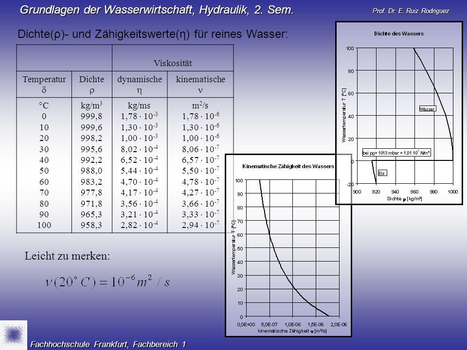 Prof. Dr. E. Ruiz Rodriguez Grundlagen der Wasserwirtschaft, Hydraulik, 2. Sem. Fachhochschule Frankfurt, Fachbereich 1 Dichte(ρ)- und Zähigkeitswerte