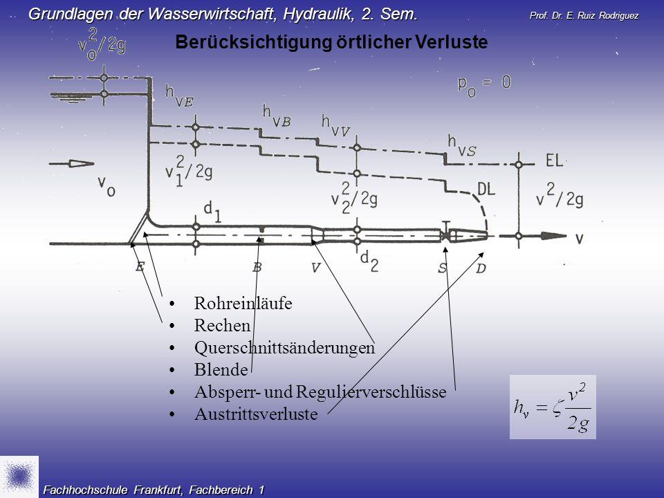 Prof. Dr. E. Ruiz Rodriguez Grundlagen der Wasserwirtschaft, Hydraulik, 2. Sem. Fachhochschule Frankfurt, Fachbereich 1 Rohreinläufe Rechen Querschnit