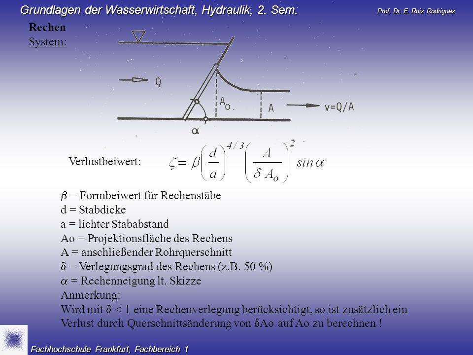Prof. Dr. E. Ruiz Rodriguez Grundlagen der Wasserwirtschaft, Hydraulik, 2. Sem. Fachhochschule Frankfurt, Fachbereich 1 Rechen System: = Formbeiwert f