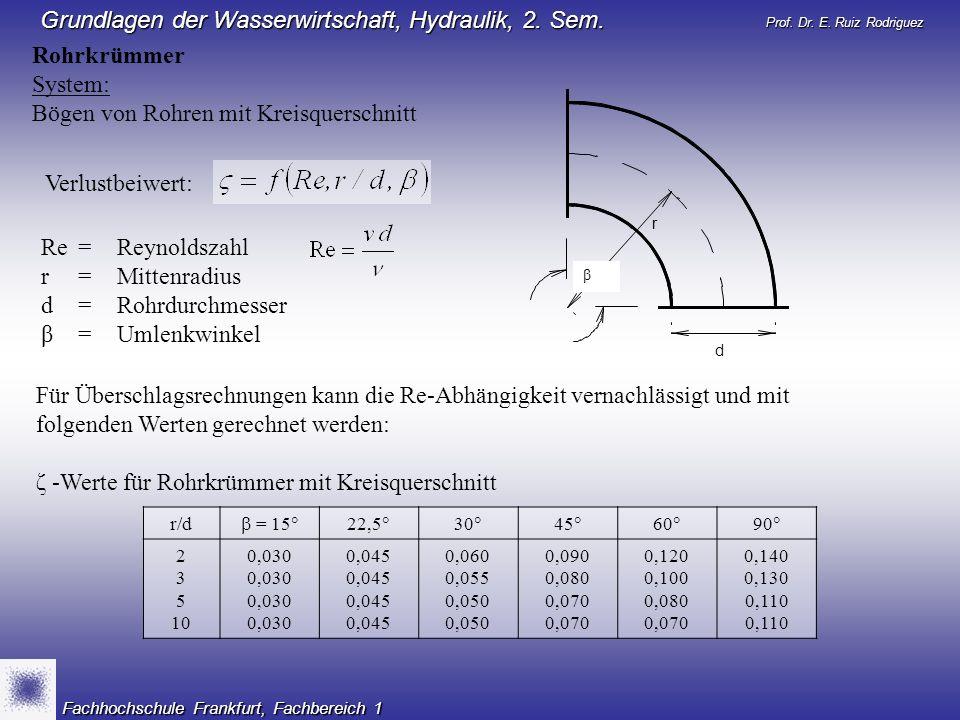 Prof. Dr. E. Ruiz Rodriguez Grundlagen der Wasserwirtschaft, Hydraulik, 2. Sem. Fachhochschule Frankfurt, Fachbereich 1 Rohrkrümmer System: Bögen von