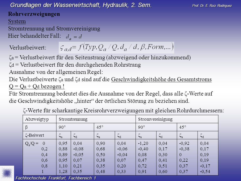 Prof. Dr. E. Ruiz Rodriguez Grundlagen der Wasserwirtschaft, Hydraulik, 2. Sem. Fachhochschule Frankfurt, Fachbereich 1 Rohrverzweigungen System Strom