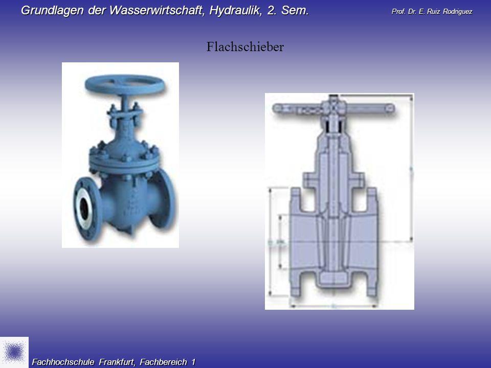 Prof. Dr. E. Ruiz Rodriguez Grundlagen der Wasserwirtschaft, Hydraulik, 2. Sem. Fachhochschule Frankfurt, Fachbereich 1 Flachschieber