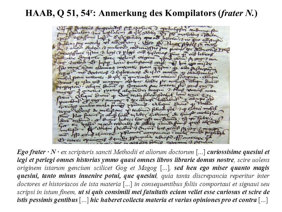 HAAB, Q 51, 54 r : Anmerkung des Kompilators (frater N.) Ego frater · N · ex scripturis sancti Methodii et aliorum doctorum [...] curiossisime quesiui