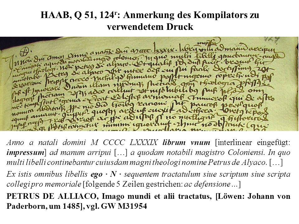 HAAB, Q 51, 124 r : Anmerkung des Kompilators zu verwendetem Druck Anno a natali domini M CCCC LXXXIX librum vnum [interlinear eingefügt: impressum] a