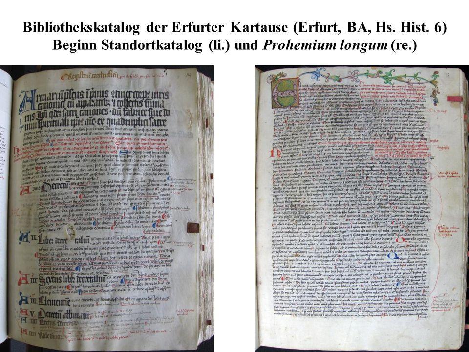 Bibliothekskatalog der Erfurter Kartause (Erfurt, BA, Hs. Hist. 6) Beginn Standortkatalog (li.) und Prohemium longum (re.)