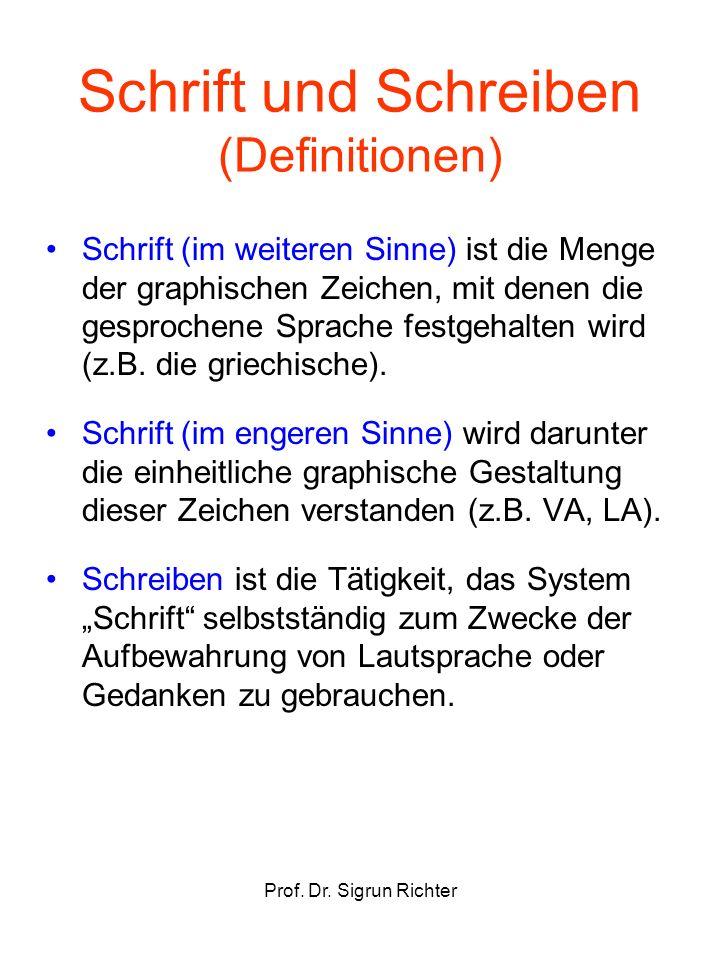 Prof. Dr. Sigrun Richter Schrift und Schreiben (Definitionen) Schrift (im weiteren Sinne) ist die Menge der graphischen Zeichen, mit denen die gesproc