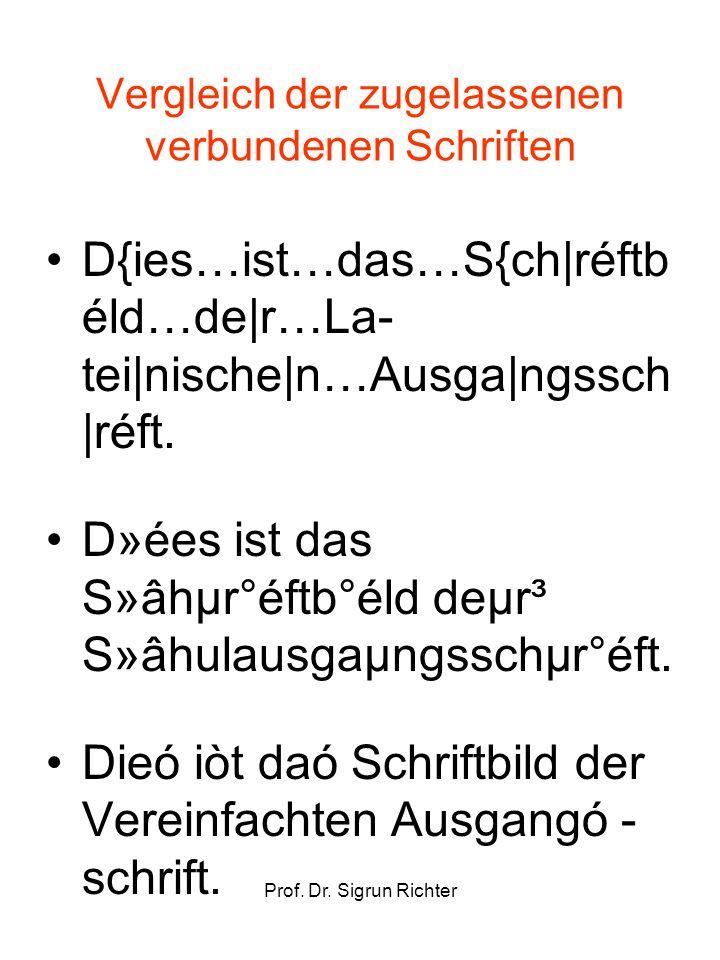 Prof. Dr. Sigrun Richter Vergleich der zugelassenen verbundenen Schriften D{ies…ist…das…S{ch|réftb éld…de|r…La- tei|nische|n…Ausga|ngssch |réft. D»ées