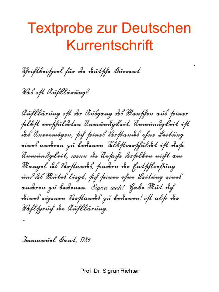 Prof. Dr. Sigrun Richter Textprobe zur Deutschen Kurrentschrift