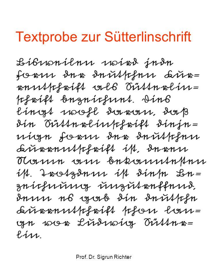 Prof. Dr. Sigrun Richter Textprobe zur Sütterlinschrift