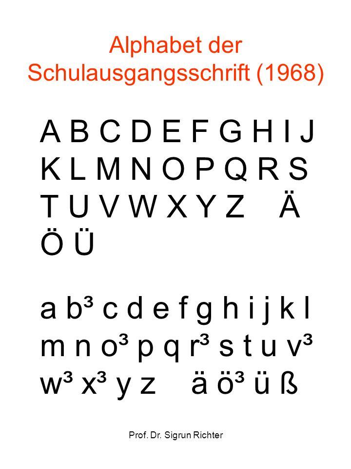 Prof. Dr. Sigrun Richter Alphabet der Schulausgangsschrift (1968) A B C D E F G H I J K L M N O P Q R S T U V W X Y Z Ä Ö Ü a b³ c d e f g h i j k l m