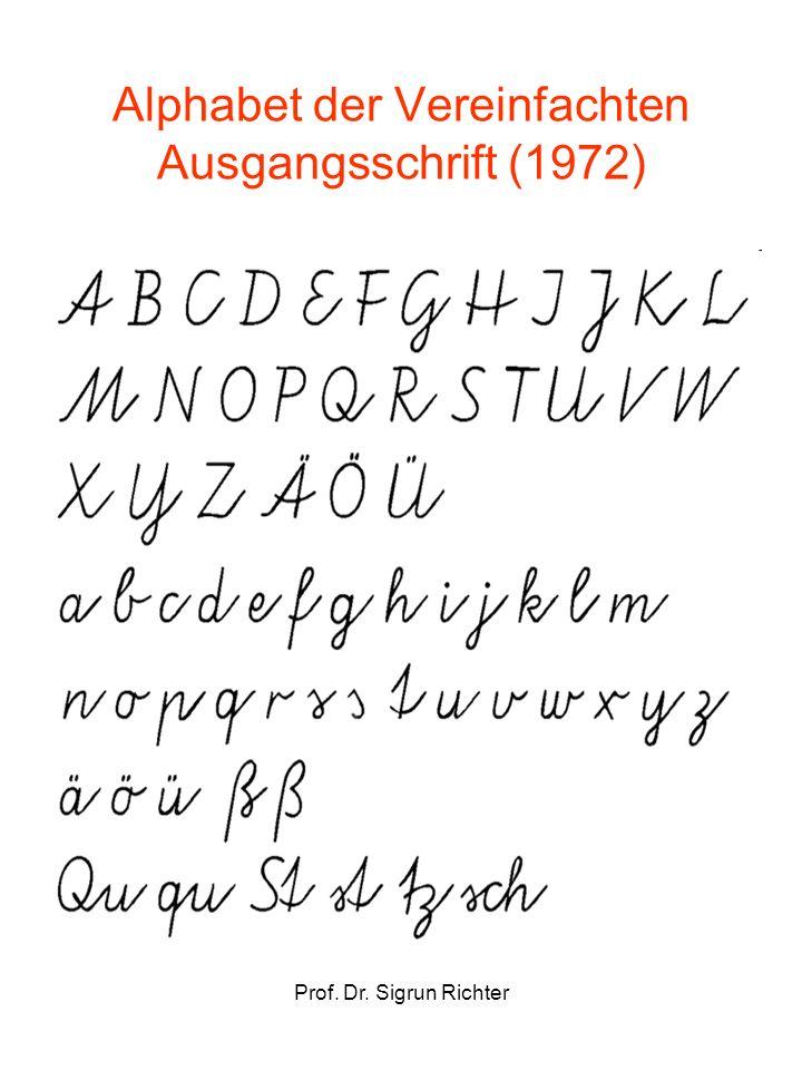 Prof. Dr. Sigrun Richter Alphabet der Vereinfachten Ausgangsschrift (1972)