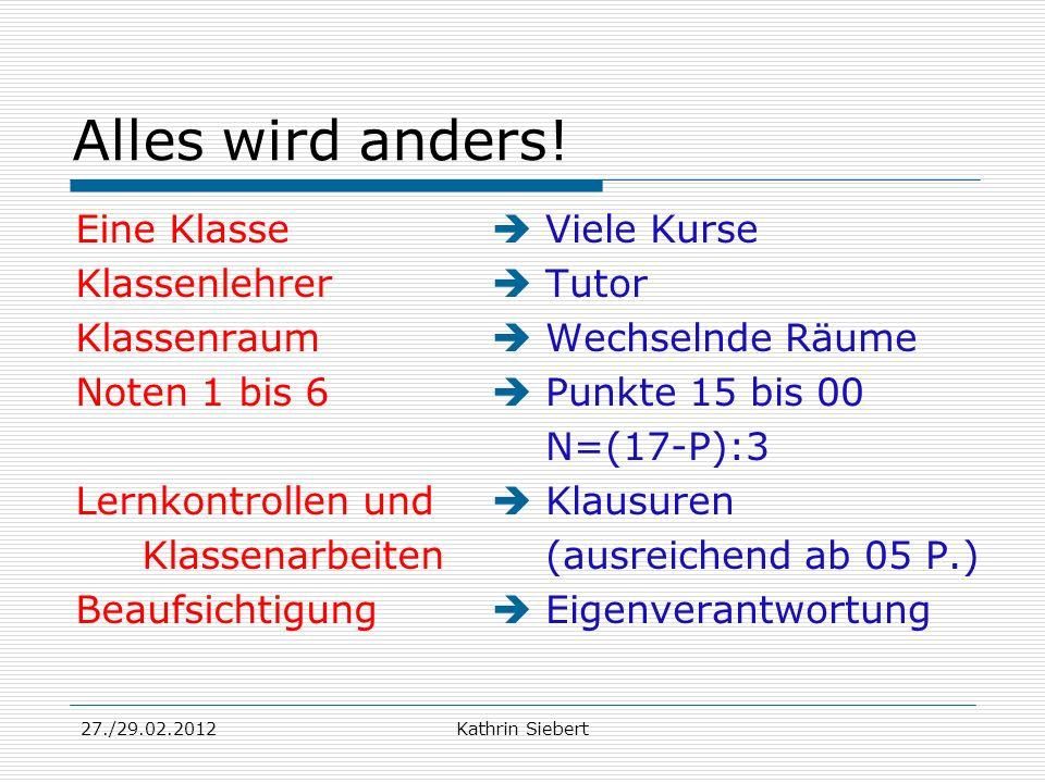 27./29.02.2012Kathrin Siebert Alles wird anders! Eine Klasse Klassenlehrer Klassenraum Noten 1 bis 6 Lernkontrollen und Klassenarbeiten Beaufsichtigun