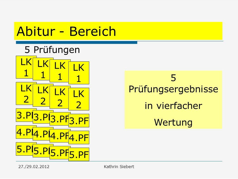27./29.02.2012Kathrin Siebert Abitur - Bereich 5 Prüfungen 5 Prüfungsergebnisse in vierfacher Wertung 3.PF 4.PF 5.PF LK 1 LK 2 3.PF 4.PF 5.PF LK 1 LK