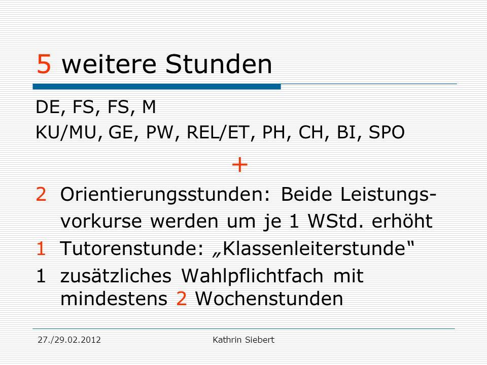 27./29.02.2012Kathrin Siebert 5 weitere Stunden DE, FS, FS, M KU/MU, GE, PW, REL/ET, PH, CH, BI, SPO + 2 Orientierungsstunden: Beide Leistungs- vorkur