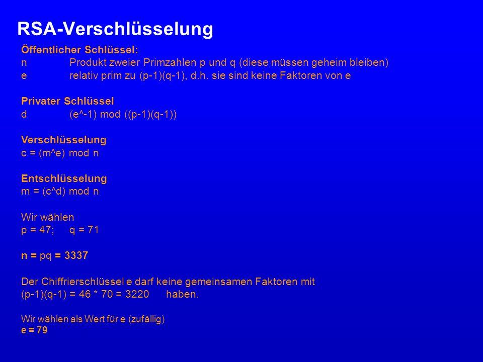 RSA-Verschlüsselung Mittels des erweiterten Euklidischen Algorithmus wird daraufhin d (privater Schlüssel) berechnet d = (79^-1) mod 3220 = 1019 ((79*1019) mod 3220 = 1) e und n werden veröffentlicht (bilden den öffentlichen Schlüssel), d bleibt geheim.