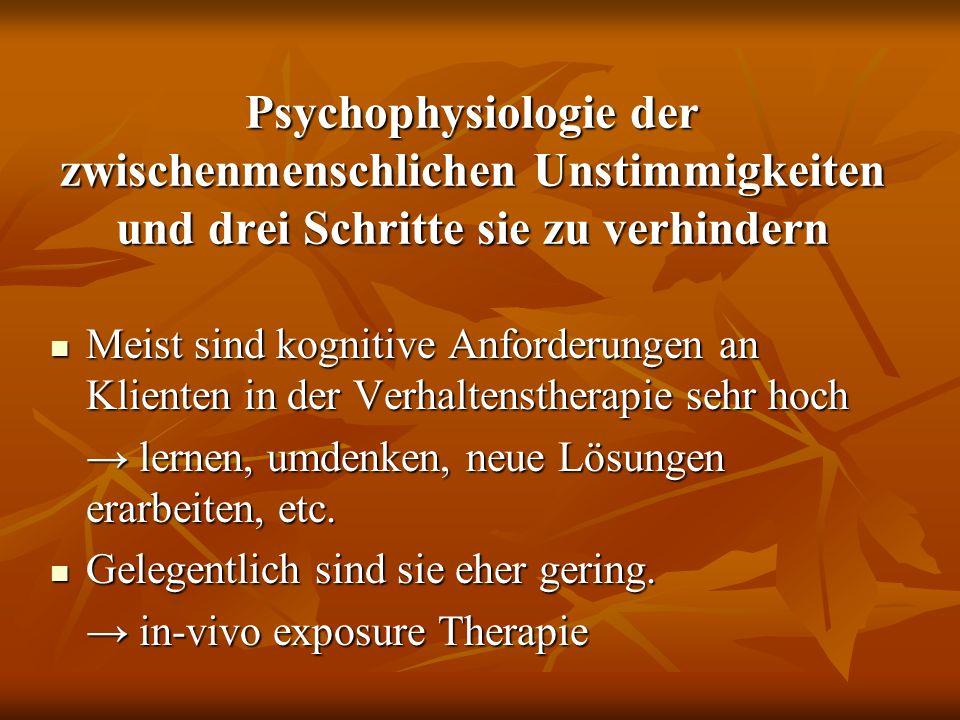 Psychophysiologie der zwischenmenschlichen Unstimmigkeiten und drei Schritte sie zu verhindern Meist sind kognitive Anforderungen an Klienten in der V
