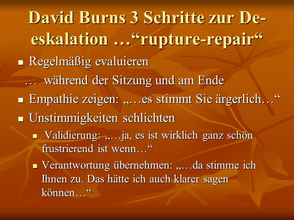 David Burns 3 Schritte zur De- eskalation …rupture-repair Regelmäßig evaluieren Regelmäßig evaluieren … während der Sitzung und am Ende … während der