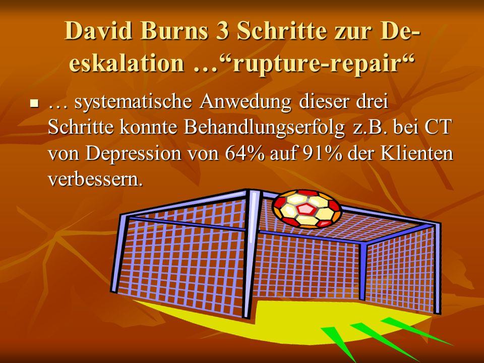 David Burns 3 Schritte zur De- eskalation …rupture-repair … systematische Anwedung dieser drei Schritte konnte Behandlungserfolg z.B. bei CT von Depre