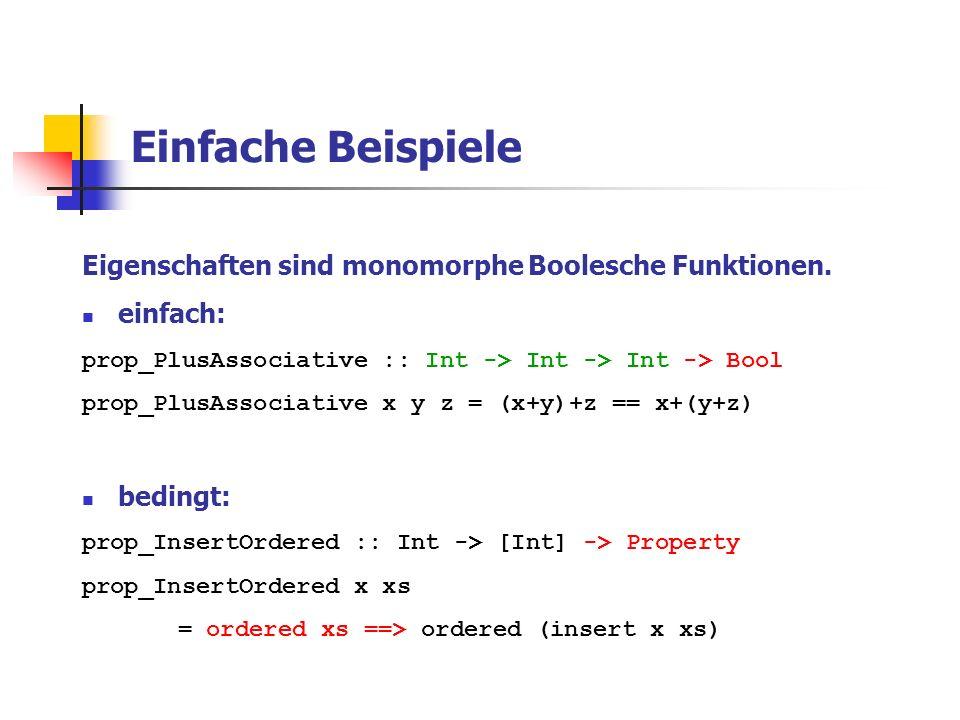 Fallstudie: Warteschlangen emptyQueue :: Queue a enqueue :: Queue a -> a -> Queue a dequeue :: Queue a -> Queue a firstQueue :: Queue a -> a isEmptyQueue :: Queue a -> Bool Gleichungsspezifikation: ------------------------ dequeue (enqueue emptyQueue x) = emptyQueue isEmptyQueue q = False -> dequeue (enqueue q x) = enqueue (dequeue q) x firstQueue (enqueue emptyQueue x) = x isEmptyQueue q = False -> firstQueue (enqueue q x) = firstQueue q isEmptyQueue emptyQueue = True isEmptyQueue (enqueue q x) = False