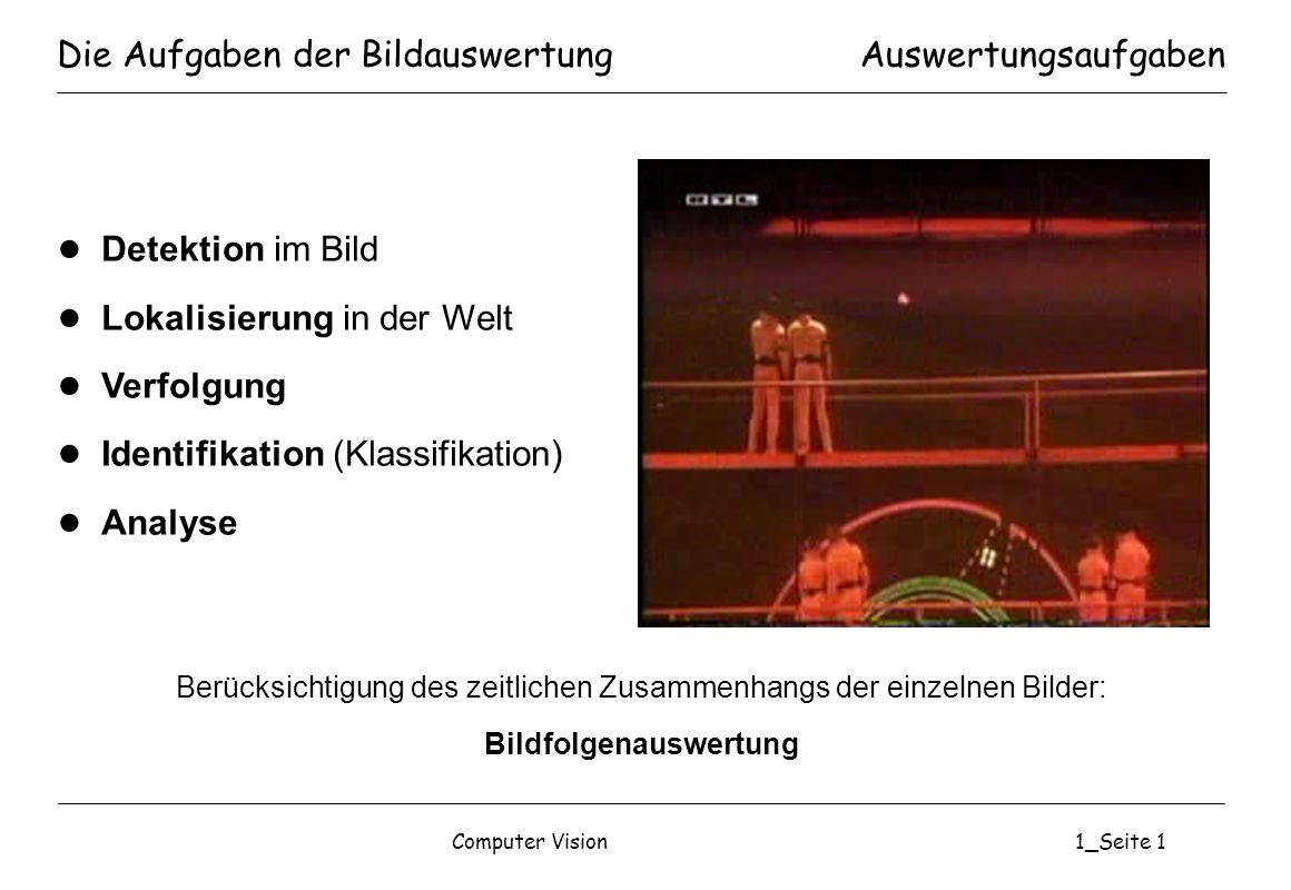Computer Vision1_Seite 1 Die Aufgaben der Bildauswertung Detektion im Bild Lokalisierung in der Welt Verfolgung Identifikation (Klassifikation) Analys