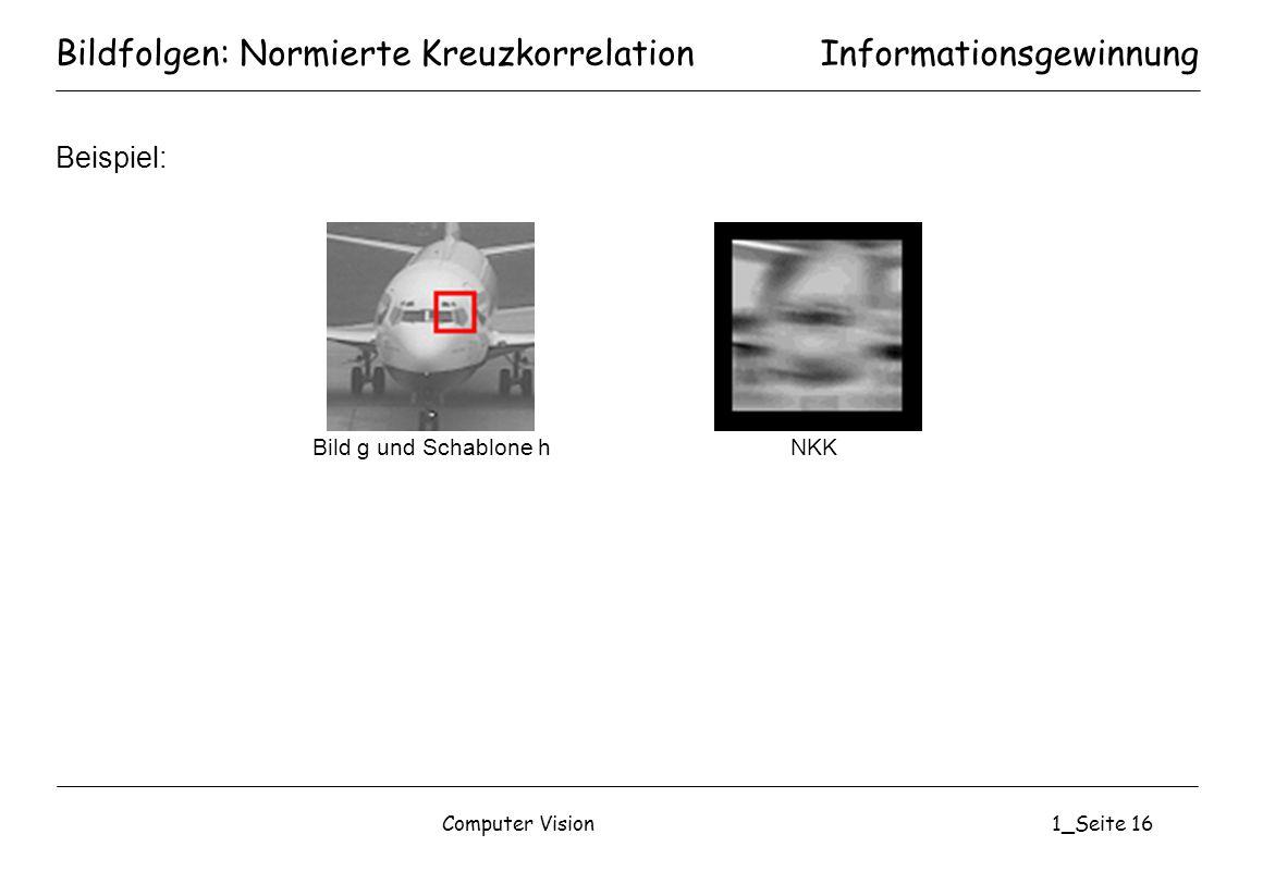 Computer Vision1_Seite 16 Bildfolgen: Normierte Kreuzkorrelation Beispiel: Informationsgewinnung Bild g und Schablone hNKK