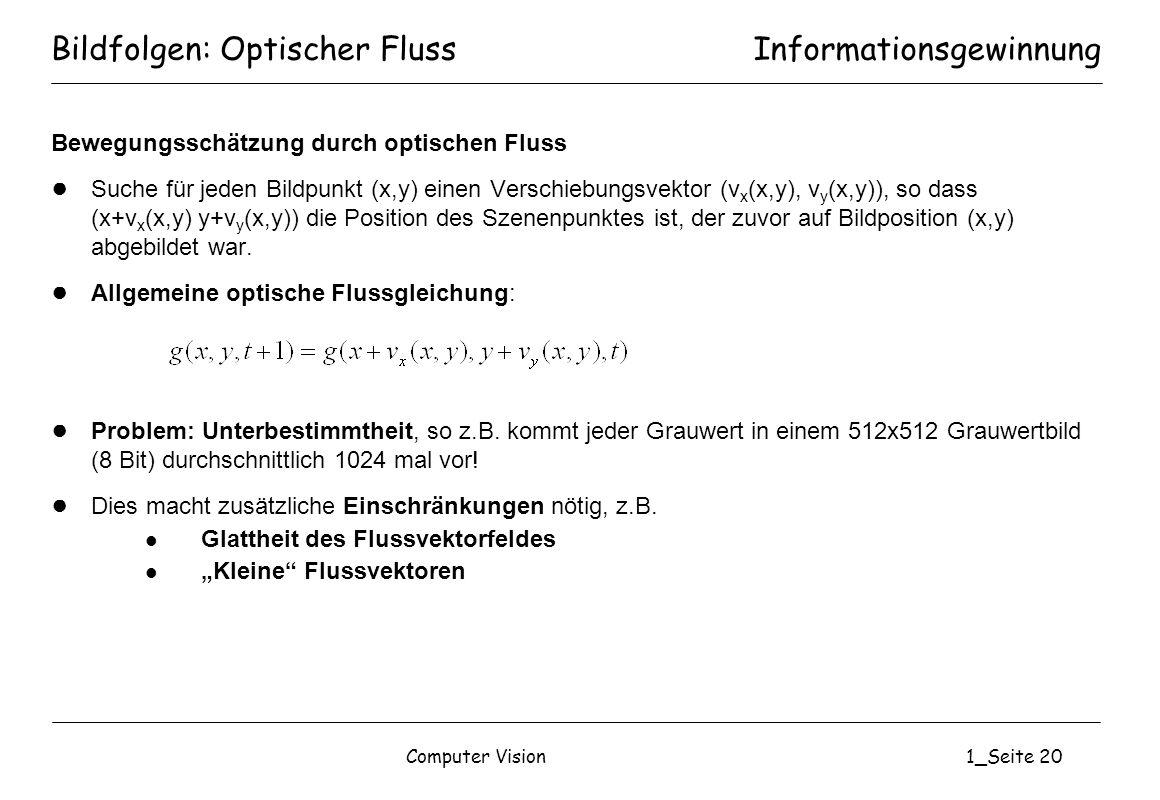 Computer Vision1_Seite 20 Bildfolgen: Optischer Fluss Bewegungsschätzung durch optischen Fluss Suche für jeden Bildpunkt (x,y) einen Verschiebungsvekt