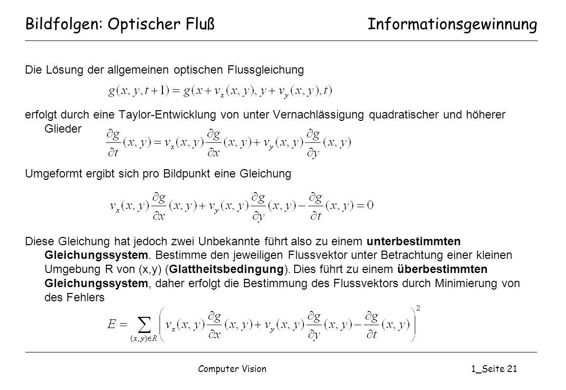 Computer Vision1_Seite 21 Bildfolgen: Optischer Fluß Die Lösung der allgemeinen optischen Flussgleichung erfolgt durch eine Taylor-Entwicklung von unt