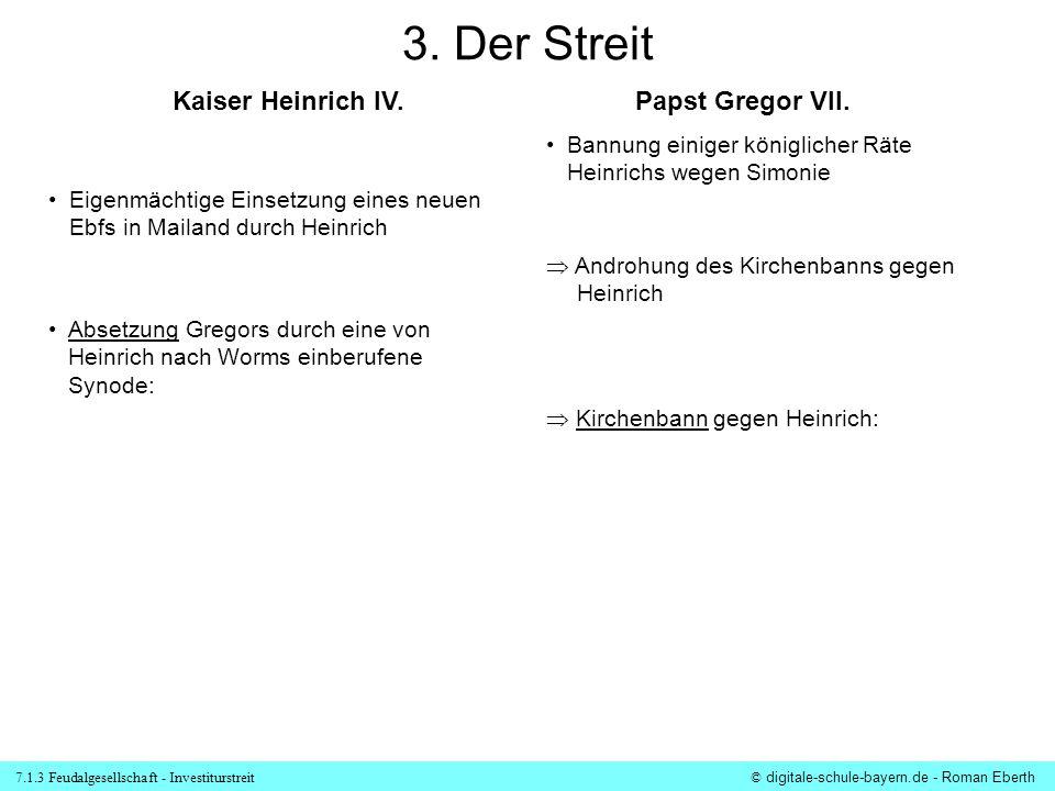 7.1.3 Feudalgesellschaft - Investiturstreit© digitale-schule-bayern.de - Roman Eberth 3. Der Streit Eigenmächtige Einsetzung eines neuen Ebfs in Maila