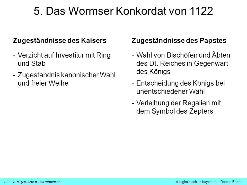 7.1.3 Feudalgesellschaft - Investiturstreit© digitale-schule-bayern.de - Roman Eberth 5. Das Wormser Konkordat von 1122 Zugeständnisse des KaisersZuge