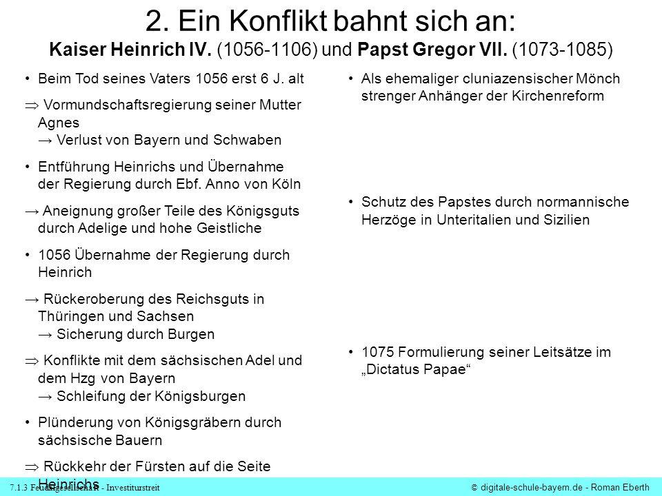 7.1.3 Feudalgesellschaft - Investiturstreit© digitale-schule-bayern.de - Roman Eberth 2. Ein Konflikt bahnt sich an: Kaiser Heinrich IV. (1056-1106) u