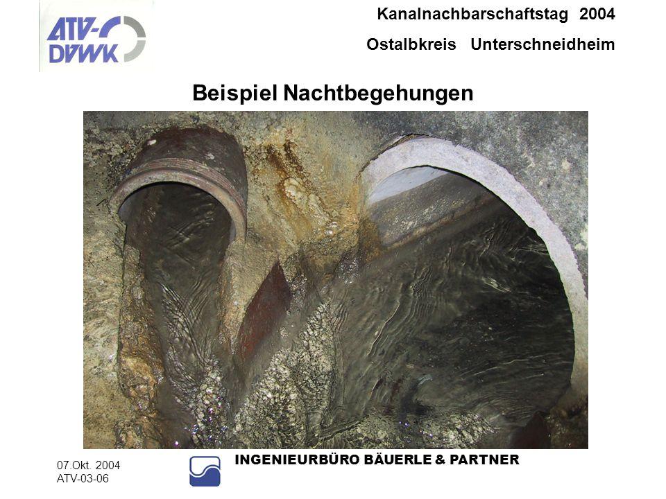 Kanalnachbarschaftstag 2004 Ostalbkreis Unterschneidheim 07.Okt. 2004 ATV-03-06 INGENIEURBÜRO BÄUERLE & PARTNER Beispiel Nachtbegehungen
