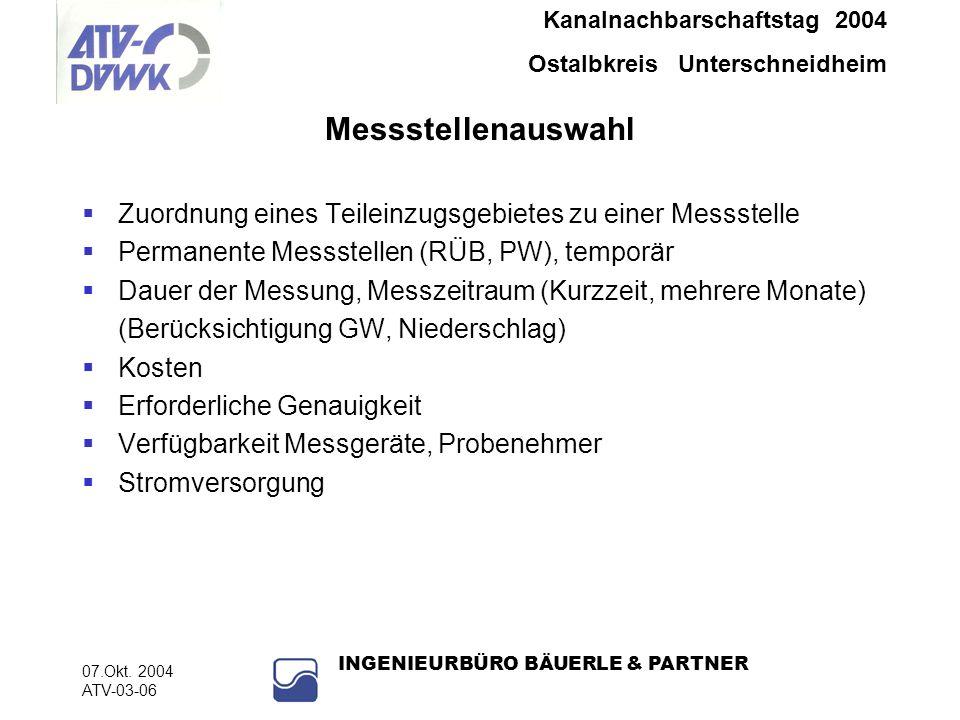 Kanalnachbarschaftstag 2004 Ostalbkreis Unterschneidheim 07.Okt. 2004 ATV-03-06 INGENIEURBÜRO BÄUERLE & PARTNER Messstellenauswahl Zuordnung eines Tei